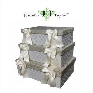 ジェニファーテイラー BOX ボックス 3ヶセット 小物入れ 収納 高級 おしゃれ かわいい エステ ネイル Swanson  Jennifer Taylor 32249BX|jennifertaylor