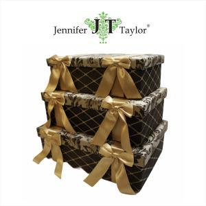 ジェニファーテイラー BOX ボックス 3ヶセット 小物入れ 収納 高級 おしゃれ かわいい エステ ネイル Broderick  Jennifer Taylor 32260BX|jennifertaylor
