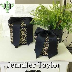 ジェニファーテイラー オーバル ボックス 2ヶセット 小物入れ 収納 高級 おしゃれ かわいい エステ ネイル リボン Espresso Jennifer Taylor 32295BX|jennifertaylor