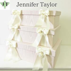 ジェニファーテイラー BOX ボックス 3ヶセット 小物入れ 収納 高級 おしゃれ かわいい エステ ネイル Chinon/PK リボン Jennifer Taylor 32346BX|jennifertaylor