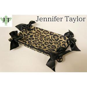 ジェニファーテイラー トレイ トレー 小物入れ リボン 布 布張り 収納 高級 おしゃれ かわいい エステ ネイル Espresso  Jennifer Taylor 32420TY|jennifertaylor