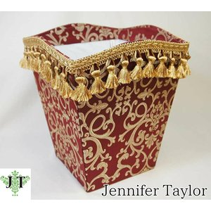 ジェニファーテイラー ダストボックス ごみ箱 布 布張り 高級 おしゃれ かわいい エステ ネイル ピンク Poinsettia/RE Jennifer Taylor 32715DB|jennifertaylor