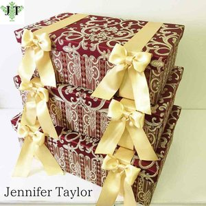 ジェニファーテイラー BOX ボックス 3ヶセット 小物入れ 収納 高級 おしゃれ かわいい エステ ネイル Poinsettia/RE  Jennifer Taylor 32718BX|jennifertaylor