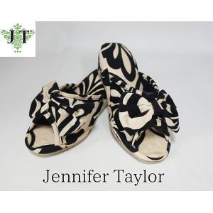 ジェニファーテイラー Lサイズ リボン スリッパ 室内用 美脚 高級 おしゃれ かわいい エステ ネイル ダマスク Yorke Jennifer Taylor 32819SP-L|jennifertaylor