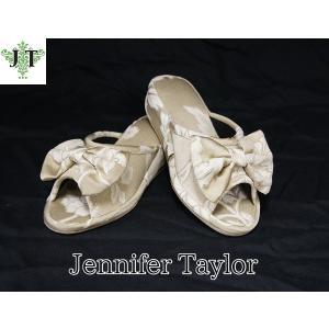 ジェニファーテイラー Mサイズ リボン スリッパ 室内用 美脚 高級 おしゃれ かわいい エステ ネイル Heirloom Jennifer Taylor 32825SP-M|jennifertaylor