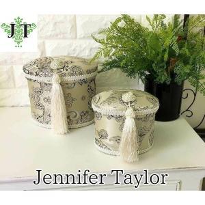 ジェニファーテイラー オーバル ボックス 2ヶセット 小物入れ 収納 高級 おしゃれ かわいい エステ ネイル Helena  Jennifer Taylor 32871BX|jennifertaylor