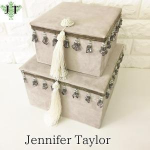 ジェニファーテイラー BOX ボックス 2ヶセット 小物入れ 収納 高級 おしゃれ かわいい エステ ネイル Velours-GB Jennifer Taylor 32906BX|jennifertaylor