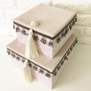 ジェニファーテイラー BOX ボックス 2ヶセット 小物入れ 収納 高級 おしゃれ かわいい エステ ネイル Velours-PK Jennifer Taylor 32912BX|jennifertaylor