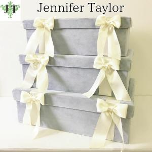 ジェニファーテイラー BOX ボックス 3ヶセット 小物入れ 収納 高級 おしゃれ かわいい エステ ネイル Velours-LB  Jennifer Taylor 32925BX|jennifertaylor