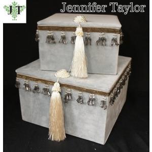 ジェニファーテイラー BOX ボックス 2ヶセット 小物入れ 収納 高級 おしゃれ かわいい エステ ネイル Velours-LB  Jennifer Taylor 32926BX|jennifertaylor