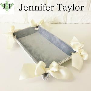 ジェニファーテイラー トレイトレー 小物入れ リボン 布 布張り 収納 高級 おしゃれ かわいい エステ ネイル Velours-LB  Jennifer Taylor 32927TY|jennifertaylor