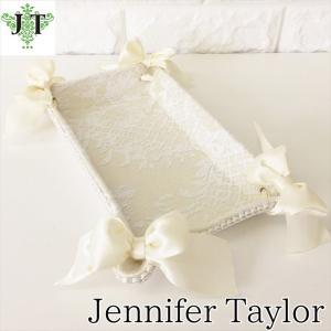 ジェニファーテイラー トレイ トレー 小物入れ リボン 布 布張り 収納 高級 おしゃれ かわいい エステ ネイル raffine-WH  Jennifer Taylor 32951TY|jennifertaylor