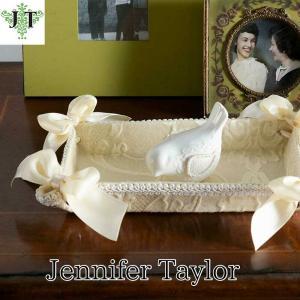 ジェニファーテイラー トレイ トレー 小物入れ リボン 布 布張り 収納 高級 おしゃれ かわいい エステ ネイル Leone-WH Jennifer Taylor 33014TY|jennifertaylor