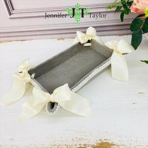ジェニファーテイラー トレイ トレー 小物入れ リボン 布 布張り 収納 高級 おしゃれ かわいい エステ ネイル Velours-NGB Jennifer Taylor 33068TY|jennifertaylor