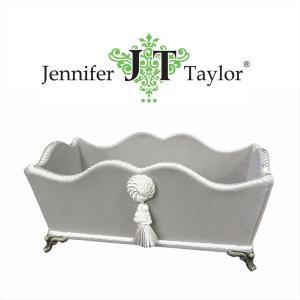 ジェニファーテイラー 脚付 小物入れ リモコン ペーパータオル 布 布張り 収納 高級 おしゃれ かわいい エステ ネイル  Velours-NGB  Jennifer Taylor 33072BX|jennifertaylor