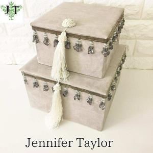 ジェニファーテイラー BOX ボックス 2ヶセット 小物入れ 収納 高級 おしゃれ かわいい エステ ネイル Velours-NGB Jennifer Taylor 33082BX|jennifertaylor