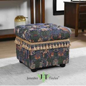 ジェニファーテイラー 収納 スツール 椅子 イス 玄関 廊下 布 布張り 高級 おしゃれ いちご泥棒 Strawberry Thief  Jennifer Taylor 33109ST|jennifertaylor