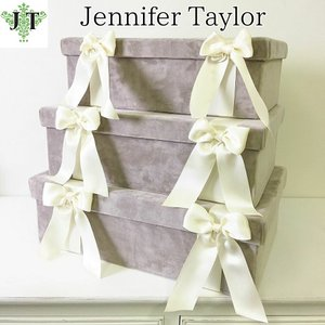 ジェニファーテイラー BOX ボックス 3ヶセット 小物入れ 収納 高級 おしゃれ かわいい エステ ネイル Velours-NGB  Jennifer Taylor 33125BX|jennifertaylor