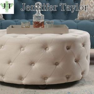 ジェニファーテイラー ラウンドテーブルベンチ 丸 ボタン締め 布 布張り 高級 おしゃれ Savannah 970 Jennifer Taylor 36010RB-970 jennifertaylor