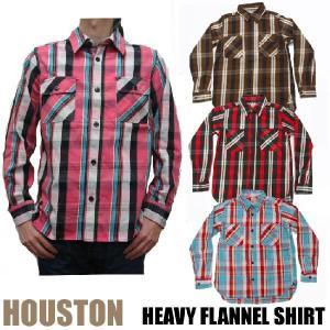HOUSTON 長袖ヘビーフランネルシャツ 全4色 ビエラ ワークシャツ ヒューストン jerrys