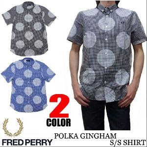 フレッドペリー FRED PERRY ドッドプリント ギンガムチェック 半袖シャツ M4278|jerrys