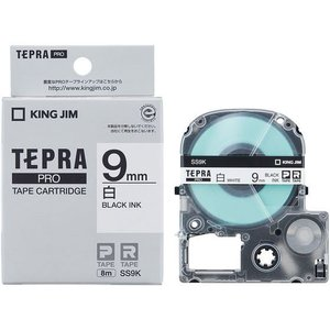 キングジム/テプラPRO用テープ 9mm 白/黒文字/SS9K|jetprice