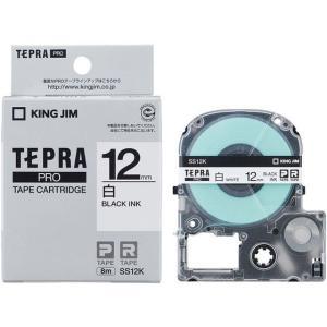 キングジム/テプラPRO用テープ 12mm 白/黒文字/SS12K|jetprice