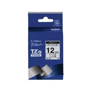 ブラザー/ラベルプリンター用ラミネートテープ12mm 白/黒文字/TZe-231|jetprice