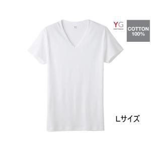 GUNZE/YG COTTON100% VネックTシャツ ホワイトL 1枚/YV0015N|jetprice