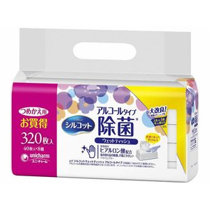 ユニチャーム/シルコット除菌ウェットティッシュアルコール ヒアルロン酸詰替 40枚×8|jetprice