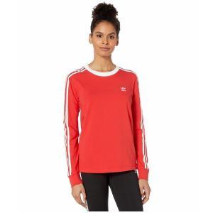 (取寄)アディダス オリジナルス レディース 3ーストライプ ロングスリーブ Tシャツ adidas originals Women 3-Stripes Long Sleeve Tee Lush Red/White|jetrag