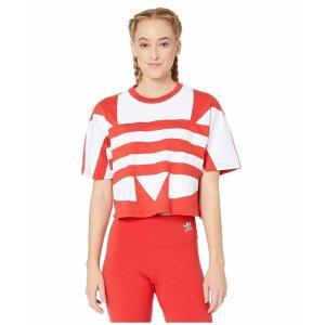 (取寄)アディダス オリジナルス レディース ラージ ロゴ Tシャツ adidas originals Women Large Logo Tee Lush Red/White|jetrag