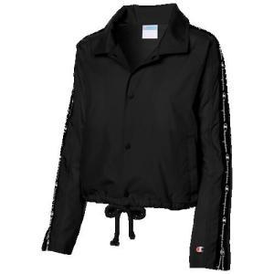 (取寄)チャンピオン レディース テープド クロップド コーチ ジャケット Champion Women's Taped Cropped Coaches Jacket Black|jetrag