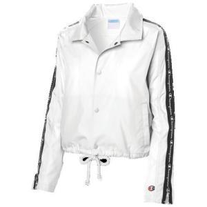 (取寄)チャンピオン レディース テープド クロップド コーチ ジャケット Champion Women's Taped Cropped Coaches Jacket White|jetrag