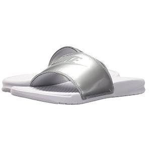NIKE ナイキ サンダル ベナッシ ホワイト シルバー Nike Benassi JDI Slide White Wolf Grey Metallic Silver|jetrag