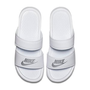 NIKE ナイキ サンダル レディース ベナッシ ホワイト シルバー デュオ ウルトラ スライド Nike Women's Benassi Duo Ultra Slide White Metallic Silver|jetrag