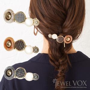 バレッタ 髪留め ヘアアクセ レディース チェック柄 タータンチェック サークル型 アンティーク調
