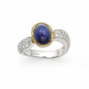 サファイヤ リング / S-3.09カラット  D-0.56カラット / K18 / ホワイトゴールド|jewelelegance