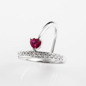 セスタ ディ カラッチ ハート 0.53ct ダイヤモンド 0.20ct リング K18WG 【中古】|jewelelegance