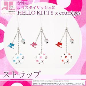 ハローキティグッズ キティ キティちゃん プレゼント 女性 HELLO KITTY x courreges (HELLO KITTY x クレージュ)ストラップ ギフト ラッピング|jewelplus