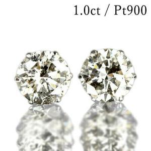 1カラット 天然ダイヤモンド ピアス 一粒 1.0ct プラチナ Pt900 6本爪 0.5×0.5...