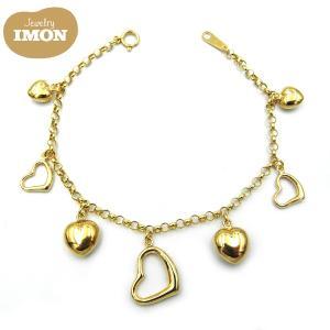 18金 ハート チャーム付 K18 ロロ チェーン ブレスレット jewelry-imon