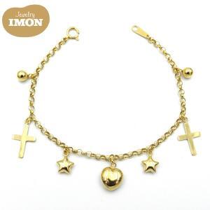 18金 クロス チャーム付 K18 ロロ チェーン ブレスレット jewelry-imon