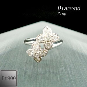 リング レディース 花 ダイアモンド 4月 誕生石 プラチナ Pt900 jewelry-matumoto
