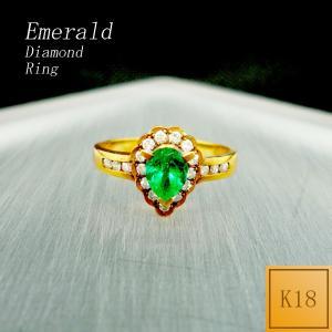 リング レディース エメラルド 5月 誕生石 ダイアモンド 18金 K18 jewelry-matumoto
