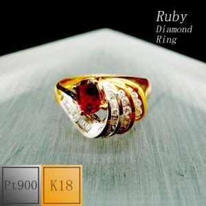 リング レディース ルビー 7月 誕生石 プラチナ・18金コンビ Pt900 K18 jewelry-matumoto
