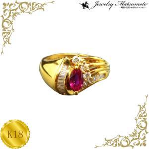 リング レディース ルビー 7月 誕生石 ダイアモンド 18金 K18 jewelry-matumoto