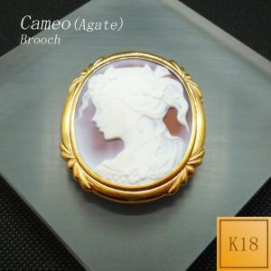 ブローチ ペンダント レディース メンズ カメオ メノウ 2way 18金 K18|jewelry-matumoto