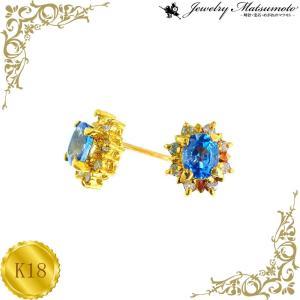 ピアス レディース サファイア ダイアモンド 9月 誕生石 ダイヤモンド 18金 K18 jewelry-matumoto