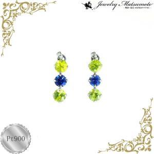 ピアス レディース ペリドット アイオライト 8月 誕生石 揺れる プラチナ Pt900 jewelry-matumoto